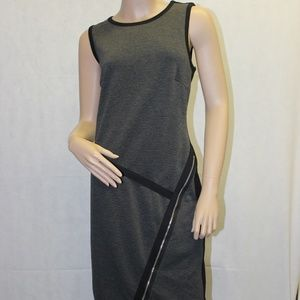 Spense Gray & Black Dress With Zipper Accent. 